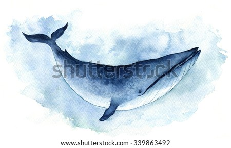 Watercolor Illustration Big Blue Whale. Isolated on the white background. - stock photo
