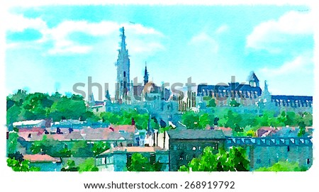 watercolor illustration budapest view   - stock photo