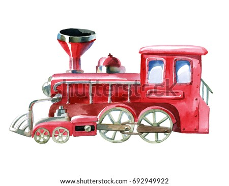 Watercolor illustration. Cartoon red train isolated on white background. Red toy locomotive