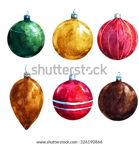 watercolor illustration Christmas balls, Christmas symbol, round glass bright ball - stock photo