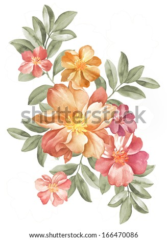 watercolor illustration flowers in simple background  - stock photo
