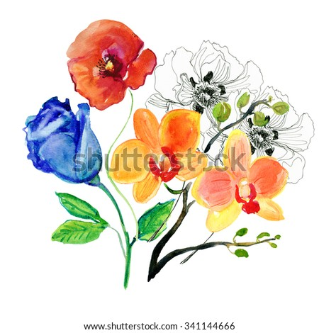 watercolor illustration flowers in simple background. - stock photo