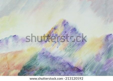 Watercolor illustration inspired by Cezanne's Mountain painting landscape - stock photo