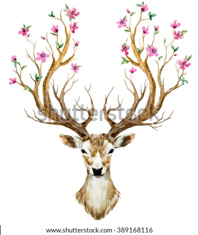 watercolor illustration isolated deer, big antlers, horns flowers on branches cherry flowering plant - stock photo