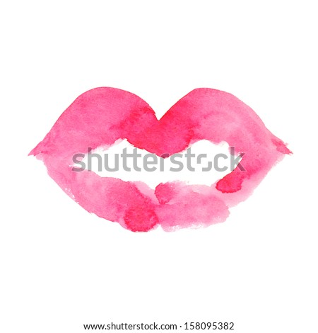 Watercolor illustration isolated lips - stock photo