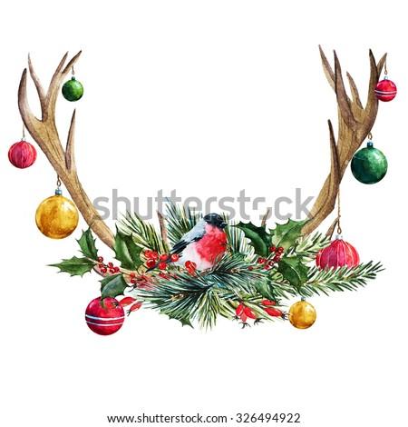 watercolor illustration of a deer antler, tree, glass balls, Christmas composition, bird titmouse - stock photo
