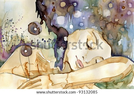 Watercolor illustration of a girl sleeping - stock photo