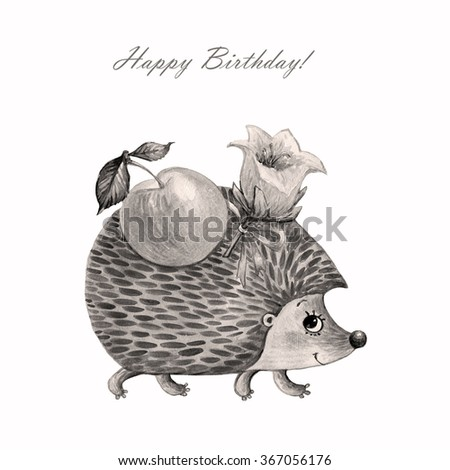 Watercolor illustration of a hedgehog with an apple and a flower-1 . Sweet illustration for your design. Gray. - stock photo