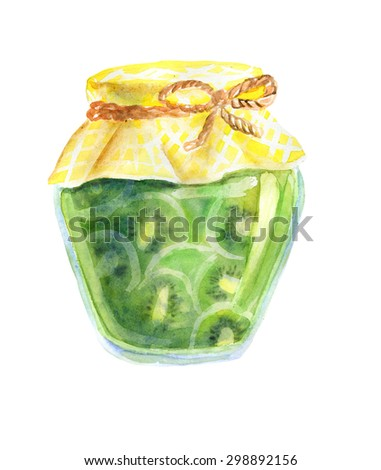 Watercolor illustration of a jar of home made kiwi jam with checkered fabric and decorative rope. Hand drawn isolated food object on white background. Sweet tasty dessert.