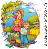 "Watercolor illustration of a series of ""Children and the seasons"". Autumn - stock photo"