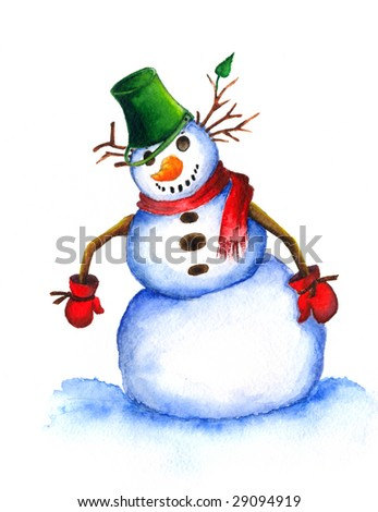 Watercolor illustration of a snowman on a white background.