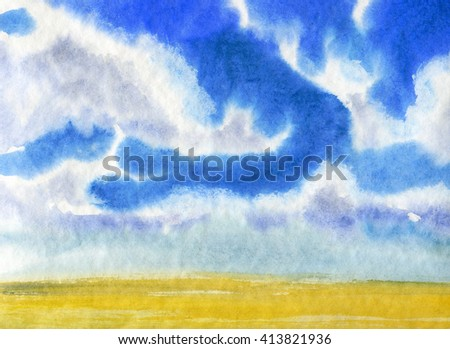 Watercolor illustration of a summer landscape - clouds and sky background - stock photo
