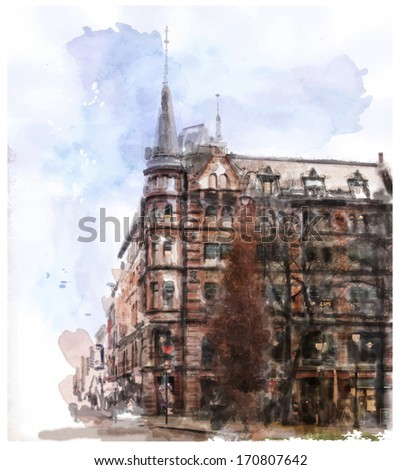 watercolor illustration of city scape. - stock photo