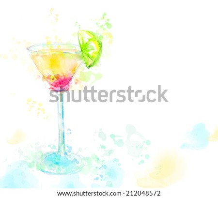 Watercolor illustration of cocktail tequila sunrise, raster image - stock photo