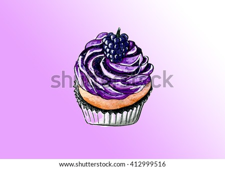 Watercolor illustration of cupcake with berries - stock photo
