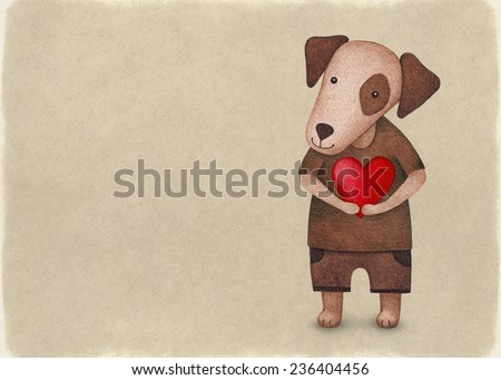 Watercolor illustration of cute dog. Perfect for Valentine greeting card  - stock photo