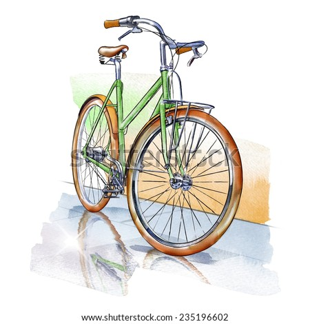 Watercolor illustration of isolated vintage Bicycle with reflection in a puddle