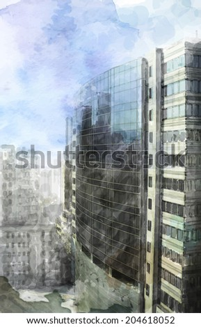 watercolor illustration of  modern city space - stock photo