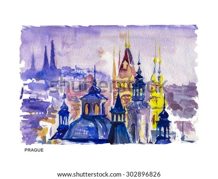 Watercolor illustration of old Prague city view with ancient buildings and text space. Good for memory postcard, any graphic design or book illustration. - stock photo