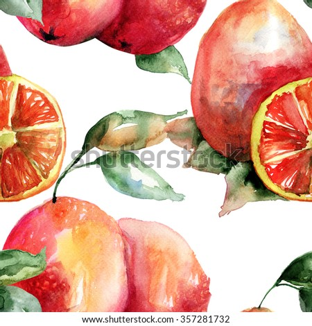 Watercolor illustration of Oranges, seamless pattern