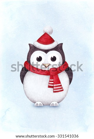 Watercolor illustration of owl. Perfect for Christmas greeting card - stock photo