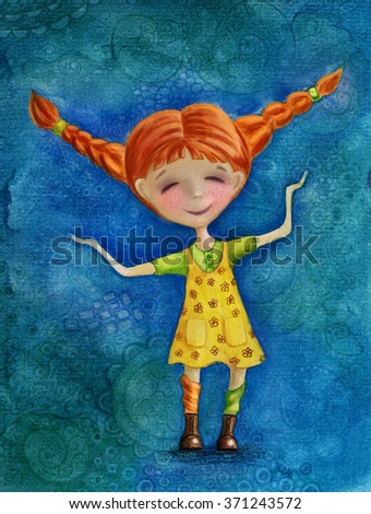 Watercolor Illustration of Pippi Longstocking - stock photo