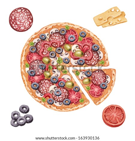 Watercolor illustration of pizza and ingredients  - stock photo