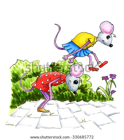 Watercolor illustration of playing mouse children at the street - stock photo