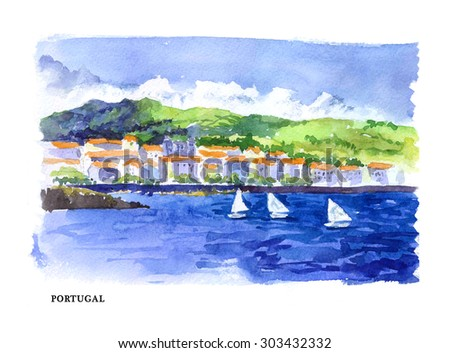 Watercolor illustration of Portugal sightseeings and seacoast with text place. Good for warm memory postcard design, any graphic design or book illustration. - stock photo