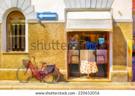 Watercolor illustration of storefront with bike. - stock photo