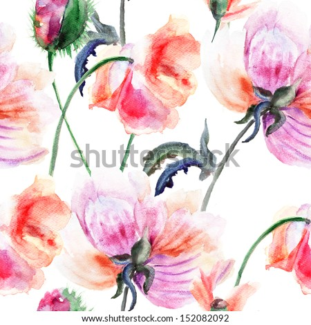 Watercolor illustration of Stylized Peony flower; seamless pattern - stock photo