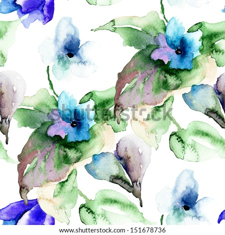 Watercolor illustration of Violet flowers, seamless wallpaper - stock photo