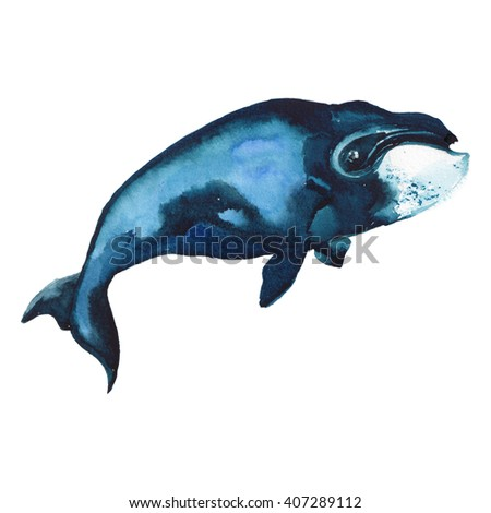 Watercolor illustration of whale. Summer holidays raster design element.
