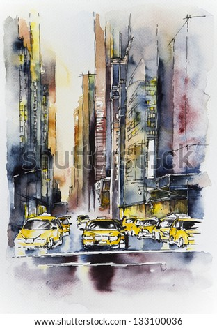 Watercolor illustration of yellow cabs on Manhattan street - stock photo