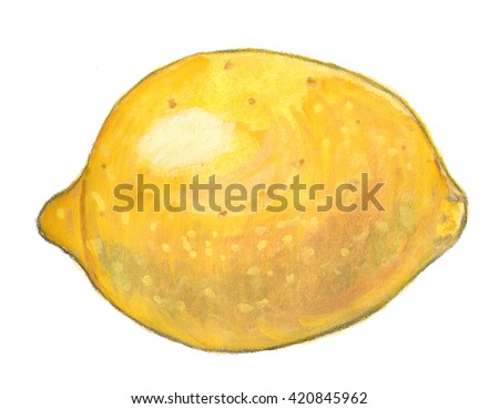Watercolor illustration of yellow lemon