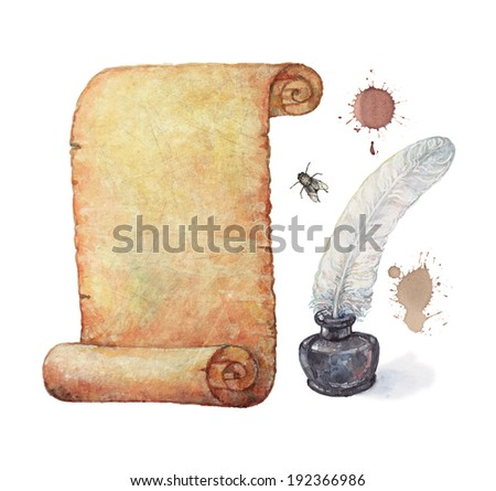 Watercolor illustration: old design elements-banners, inkwell, pen and an old paper scroll  - stock photo