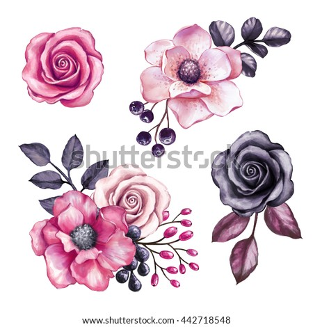 Watercolor illustration pink flowers black leaves stock illustration watercolor illustration pink flowers black leaves stock illustration 442718548 shutterstock mightylinksfo