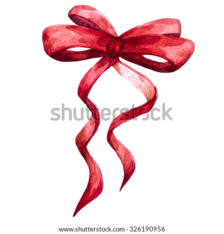 watercolor illustration red bow, ribbon, christmas bow - stock photo