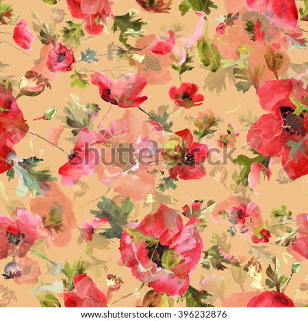 Watercolor illustration. Seamless pattern. Bouquet of poppies - GA