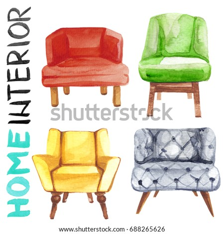 Watercolor illustration set of home interior furniture chairs or sofas with lettering isolated on white background