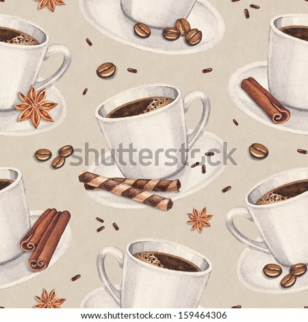 Watercolor illustrations of coffee cup. Seamless pattern - stock photo