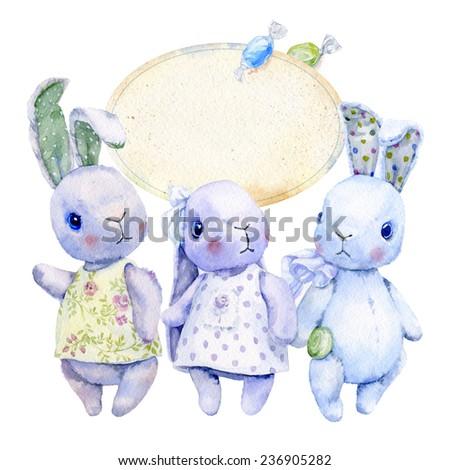 Watercolor image of three fluffy toy, pastel colors, dresses and candy . The top plate for the label with a pair of candy- candy green and blue. - stock photo