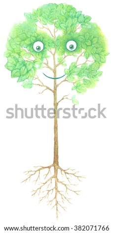 Watercolor image of tree