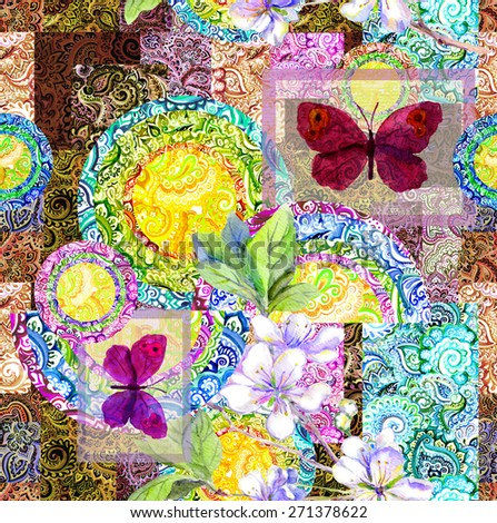 Watercolor indian ornamental pattern with butterflies. Decorative seamless design - stock photo
