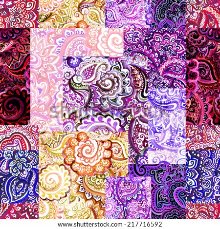 Watercolor indian ornate pattern with floral ornament. Decorative design - stock photo