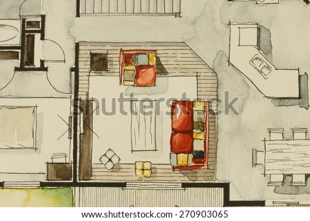 Watercolor ink freehand sketch drawing partial stock photo for Watercolor house plans