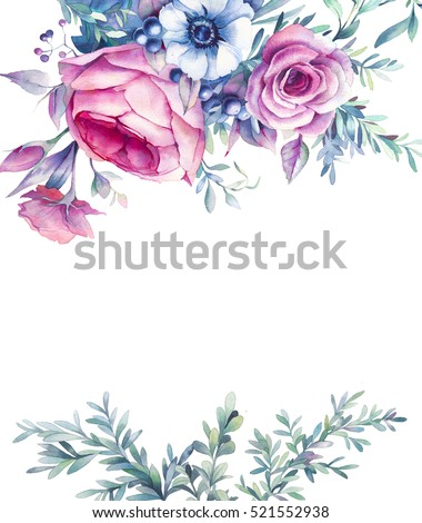 Blue Flowers On Gold Background Painting
