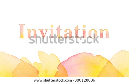 watercolor invitation. painted hand made header - stock photo