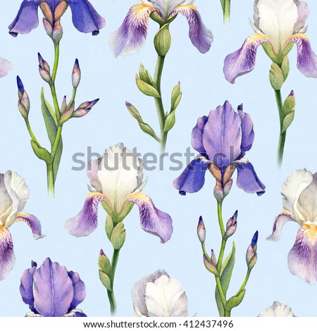 Artistic flowers stock images royalty free images vectors watercolor iris flower illustration seamless pattern pronofoot35fo Choice Image