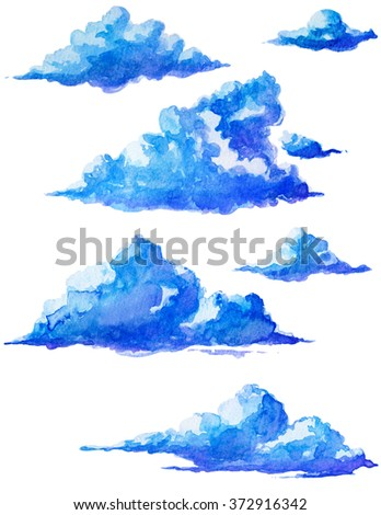 Watercolor isolated clouds - stock photo